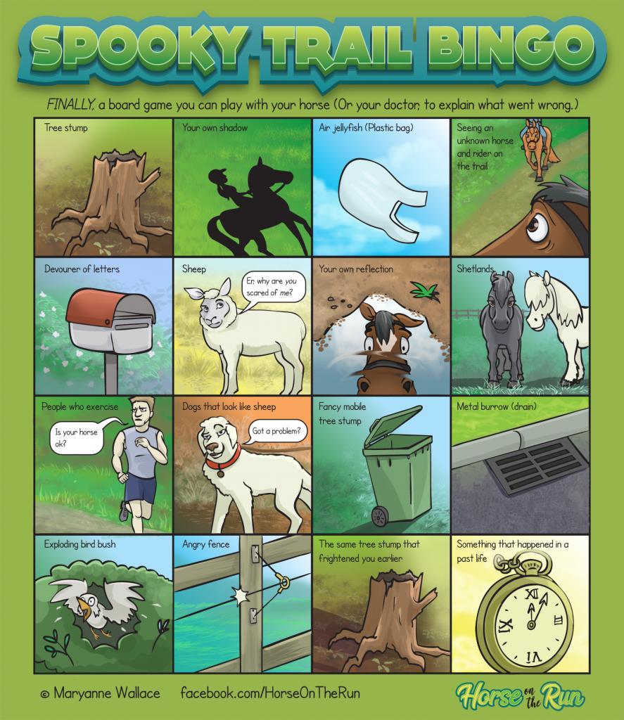 Spooky trail bingo comic - Horse on the Run comics