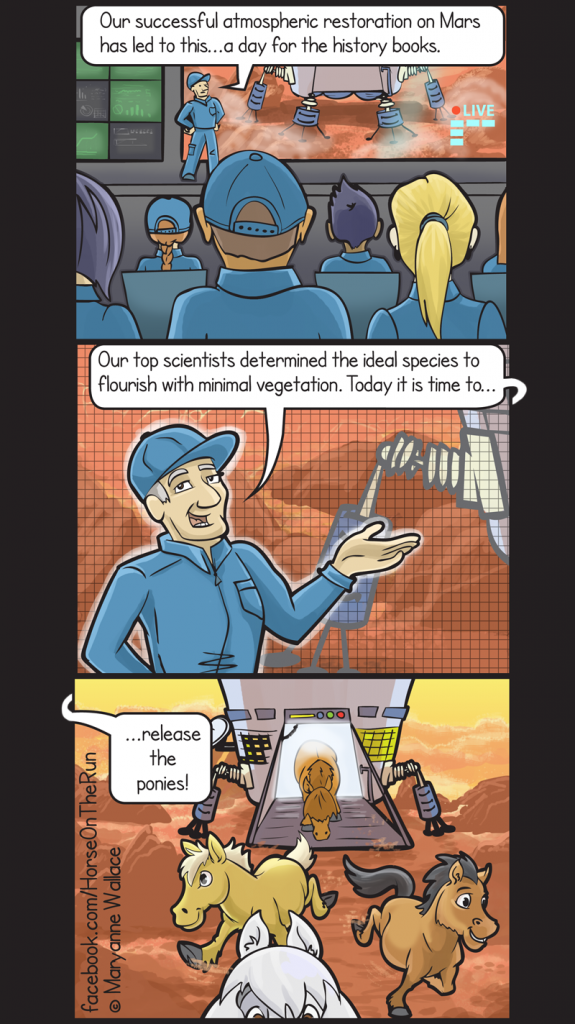 Horses and ponies on Mars comic - vertical